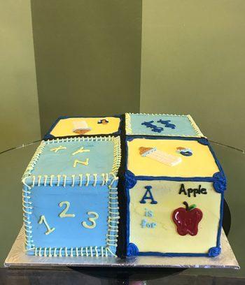 Baby Blocks Layer Cake - Blue & Yellow