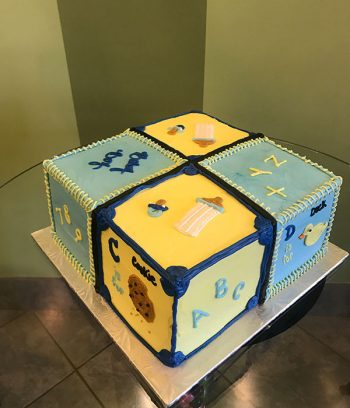 Baby Blocks Layer Cake - Blue & Yellow