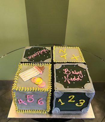 Baby Blocks Layer Cake - Grey & Black