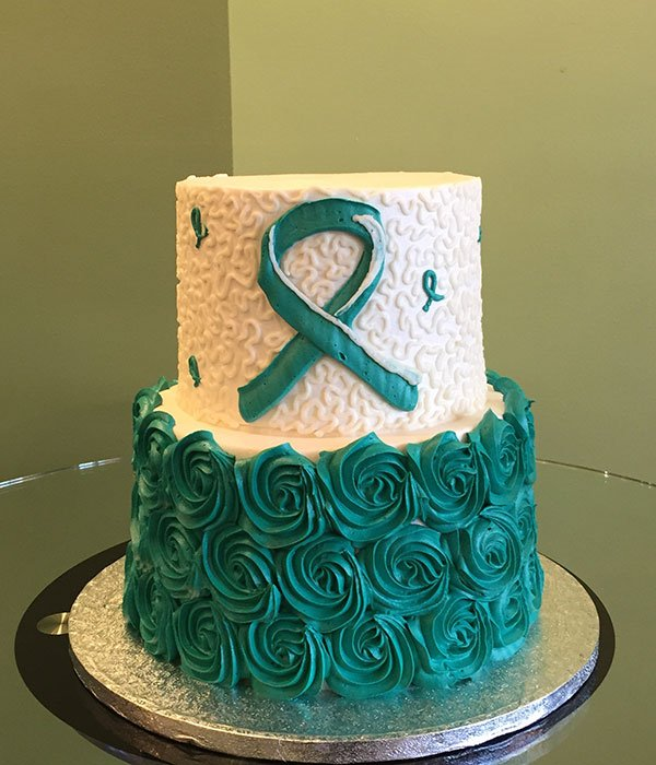 Awareness Ribbon Tiered Cake