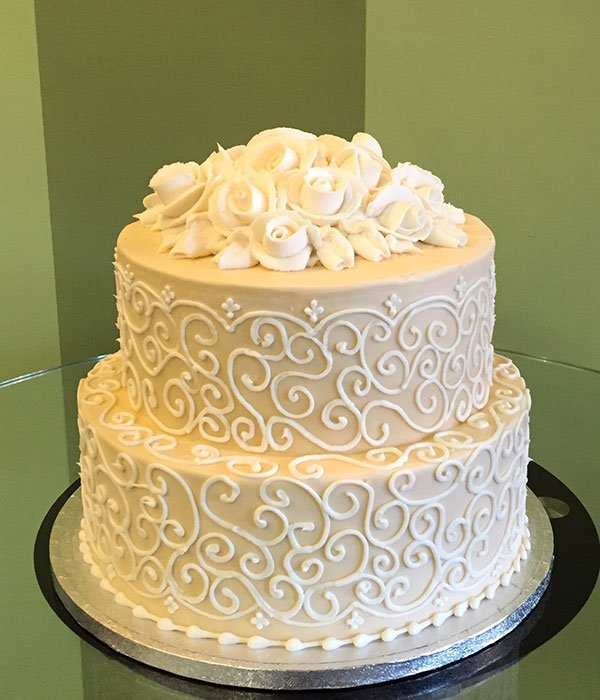 Grace Tiered Cake - Ivory & White