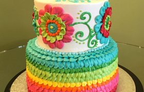 Rainbow Floral Tiered Cake