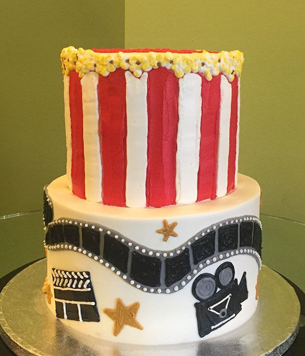 Super Movie Night Tiered Cake Classy Girl Cupcakes Funny Birthday Cards Online Kookostrdamsfinfo