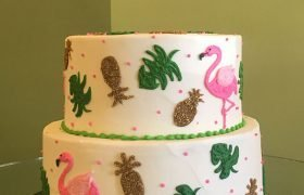 Retro Flamingo Tiered Cake