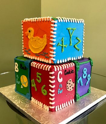 Baby Blocks Tiered Cake - Bright Colors