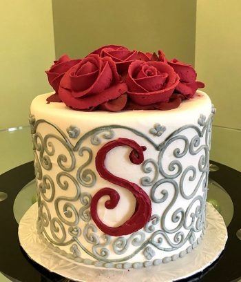 Grace Monogram Layer Cake - Grey & Red