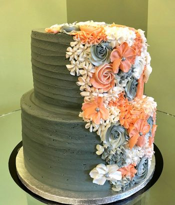 Floral Cascade Tiered Cake - Green