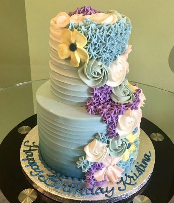 Floral Cascade Tiered Cake - Blue