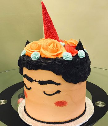 Frida Kahlo Unicorn Layer Cake - Side