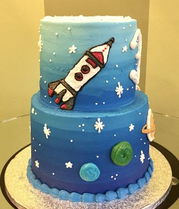 Outer Space Tiered Cake - Left Side