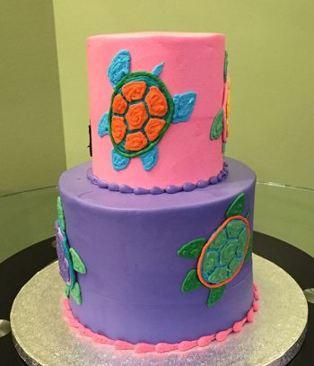 Sea Turtle Tiered Cake - Side