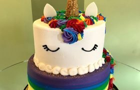 Unicorn Rainbow Tiered Cake