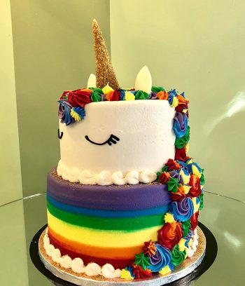 Unicorn Rainbow Tiered Cake - Side