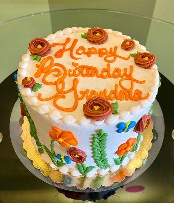 Floret Layer Cake - Orange, Blue & Green