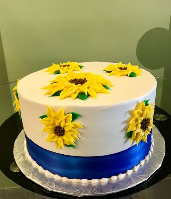 Sunflower Ribbon Layer Cake - Side