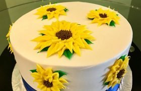 Sunflower Ribbon Layer Cake - Top