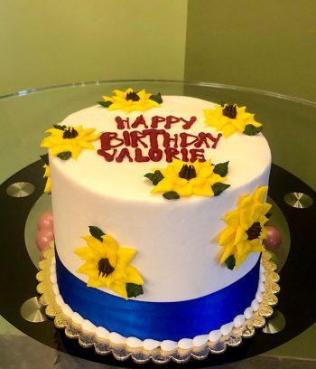 Sunflower Ribbon Layer Cake