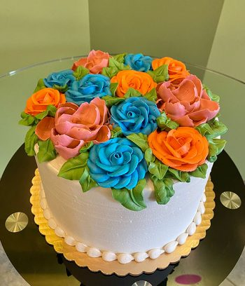 Assorted Flower Layer Cake - Blue, Orange, & Pink