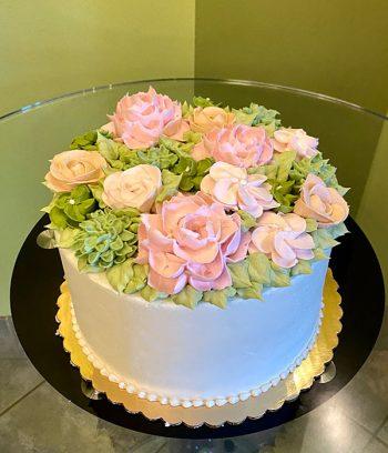 Assorted Flower Layer Cake - Beige & Pink