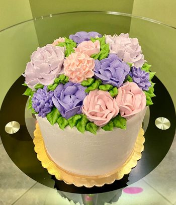 Assorted Flower Layer Cake - Pink & Purple