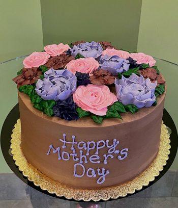 Assorted Flower Layer Cake - Chocolate