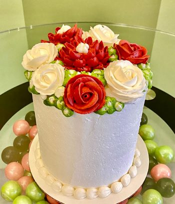 Assorted Flower Layer Cake - Red & White
