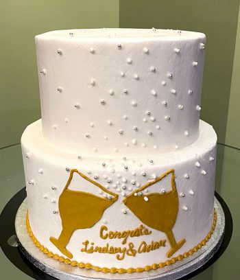 Champagne Toast Tiered Cake - White