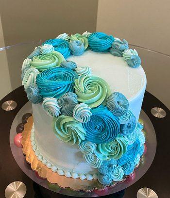 Rosette Cascade Layer Cake - Aqua