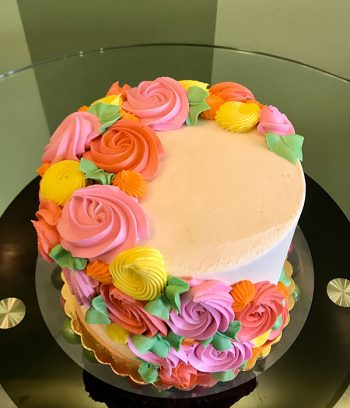 Rosette Cascade Layer Cake - Neon