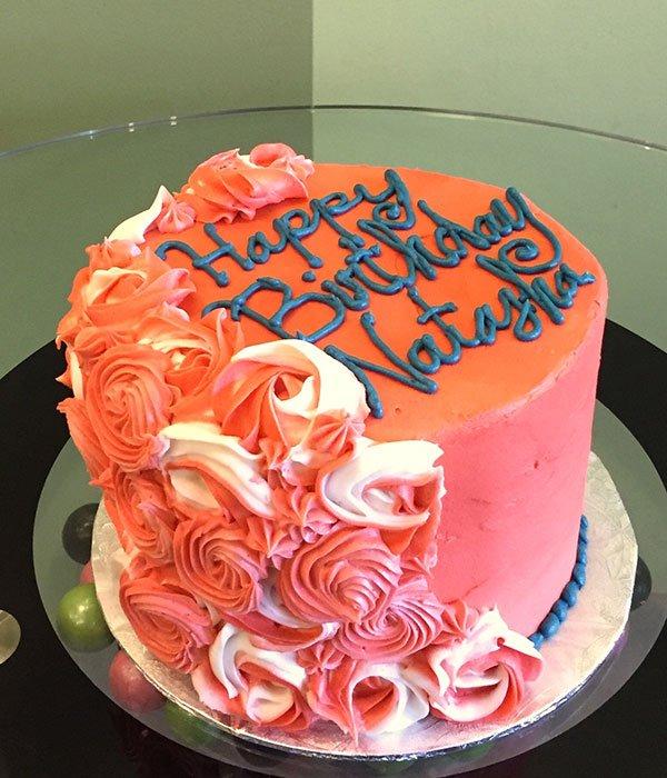 Rosette Cascade Layer Cake - Coral