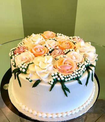 Assorted Flower Layer Cake - Blush Pink Baby's Breath