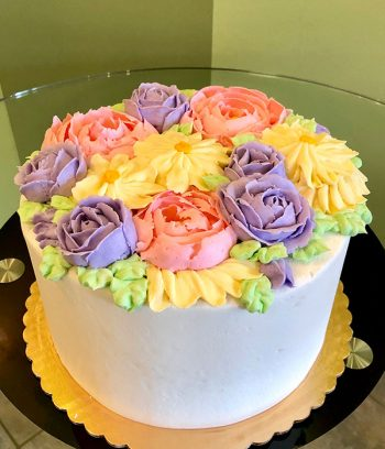 Assorted Flower Layer Cake - Pink, Purple & Yellow