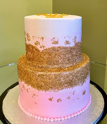 Flat Ombre Glitter Tiered Cake - Blush Pink