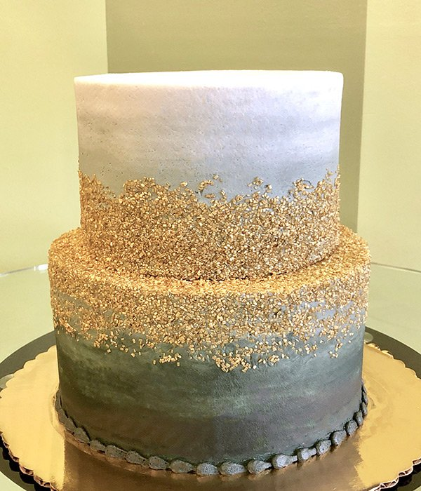 Flat Ombre Glitter Tiered Cake - Grey & Gold
