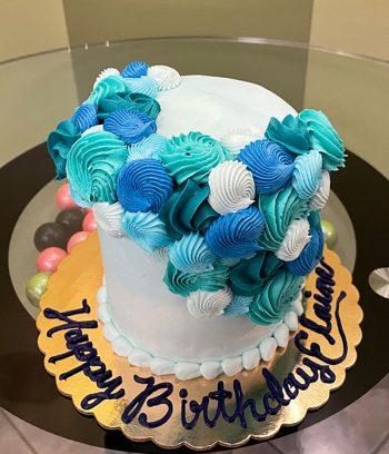 Rosette Cascade Layer Cake - Blue