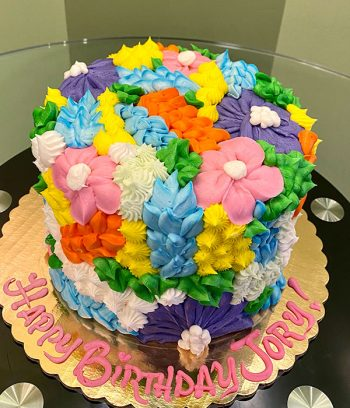 Assorted Flower Covered Layer Cake - Bright Colors