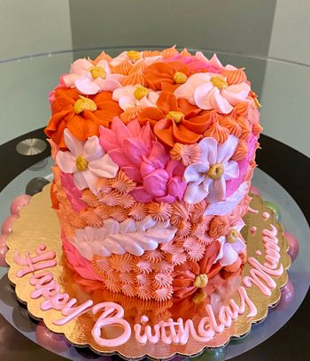 Assorted Flower Covered Layer Cake - Pink & Orange
