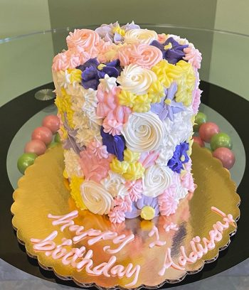 Assorted Flower Covered Layer Cake - Pink, Purple, & Yellow