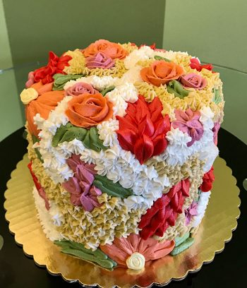 Assorted Flower Covered Layer Cake - Red Coral