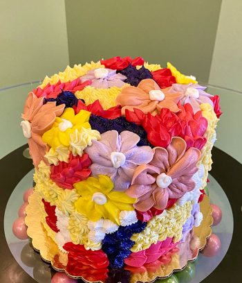 Assorted Flower Covered Layer Cake - Yellow & Red
