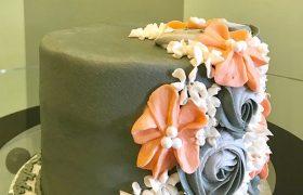 Floral Cascade Layer Cake - Grey & Coral
