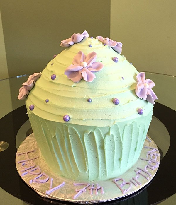 Giant Cupcake Floral Cake - Green & Purple