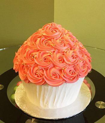 Giant Cupcake Rosette Cake - Coral