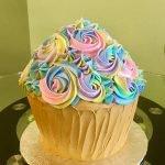 Giant Cupcake Rosette Cake - Pastel Rainbow