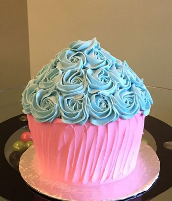 Giant Cupcake Rosette Cake - Pink & Blue