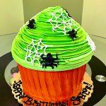Halloween Spiderweb Giant Cupcake Cake - Green & Orange