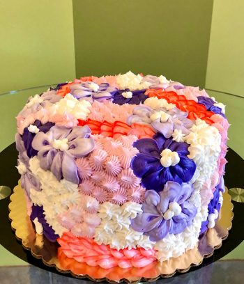 Assorted Flower Covered Layer Cake - Pink & Purple