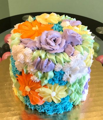 Assorted Flower Covered Layer Cake - Purple & Orange
