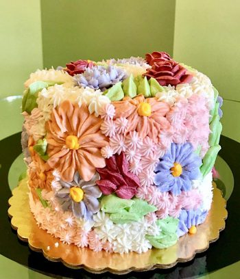 Assorted Flower Covered Layer Cake