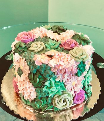 Assorted Flower Covered Layer Cake - Pink & Green Succulent